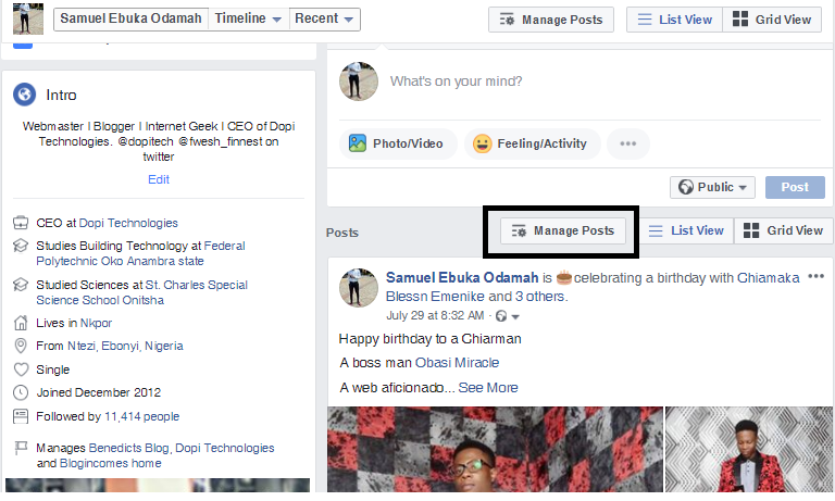 Facebook Manage Posts feature