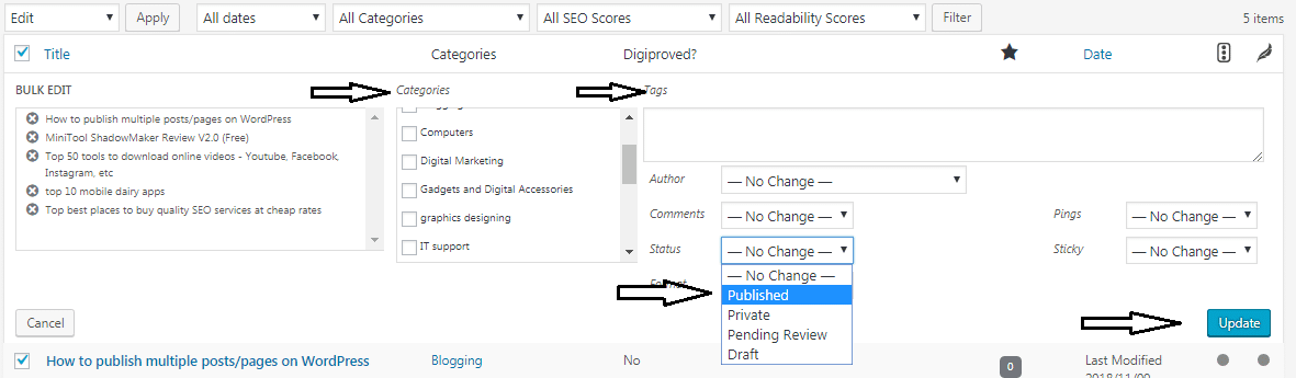 Publish multiples posts at once