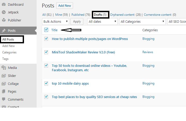 publish bulk posts