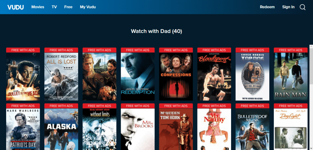 Vudu streaming site