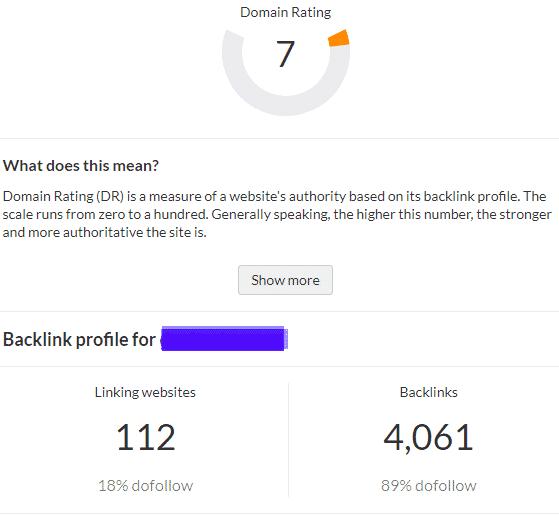 Website Authority Score (DR Score)